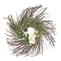 White Rose and Wild Flowers Wreath
